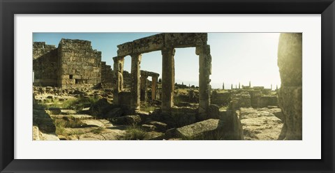 Framed Roman town ruins of Hierapolis at Pamukkale, Anatolia, Central Anatolia Region, Turkey Print