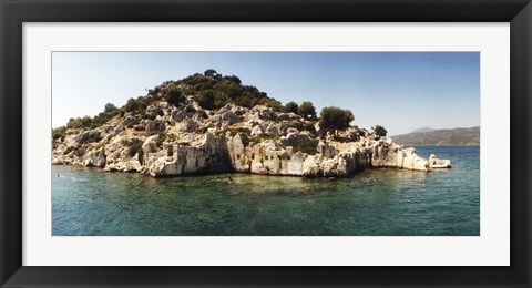 Framed Rocky island in the Mediterranean sea, Sunken City, Kekova, Antalya Province, Turkey Print