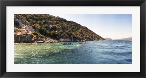 Framed People kayaking in the Mediterranean sea, Sunken City, Kekova, Antalya Province, Turkey Print