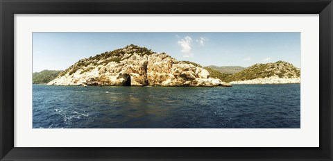 Framed Pirates Cave in the Mediterranean sea, Sunken City, Kekova, Antalya Province, Turkey Print