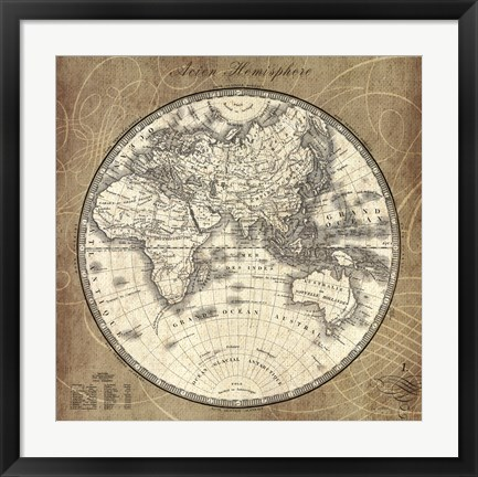 Framed French World Map II Print
