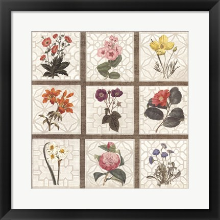 Framed Monument Etching Tile Flowers Square II Print