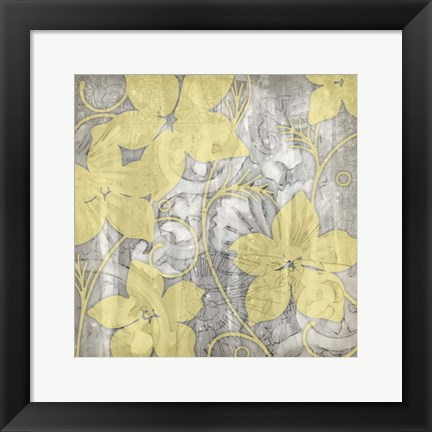 Framed Yellow & Gray I Print