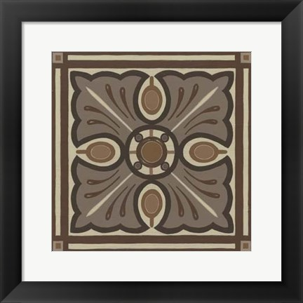 Framed Piazza Tile in Brown I Print