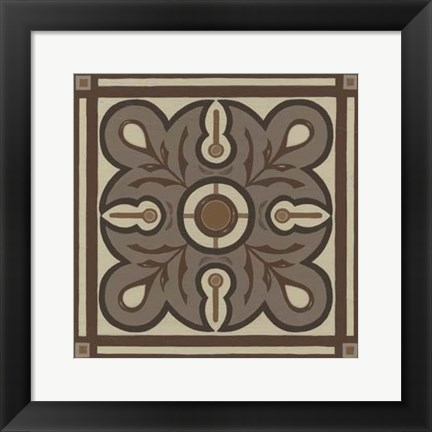 Framed Piazza Tile in Brown III Print