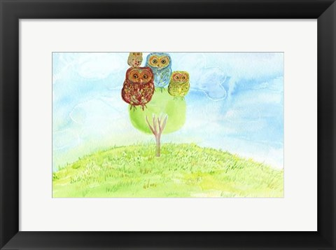 Framed Owl Family Print