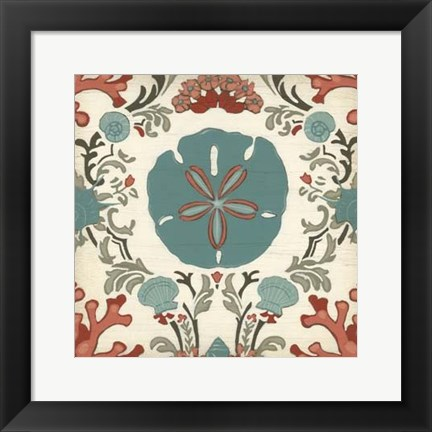 Framed Coastal Damask I Print