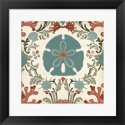 Framed Coastal Damask II Print