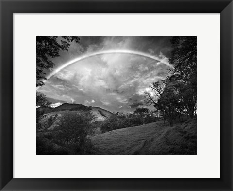 Framed Green Field With Rainbow Print