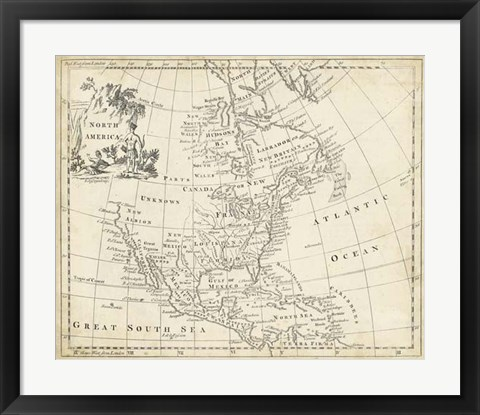 Framed Map of North America Print