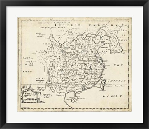 Framed Map of China Print