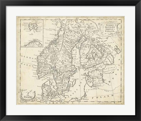 Framed Map of Sweden & Denmark Print