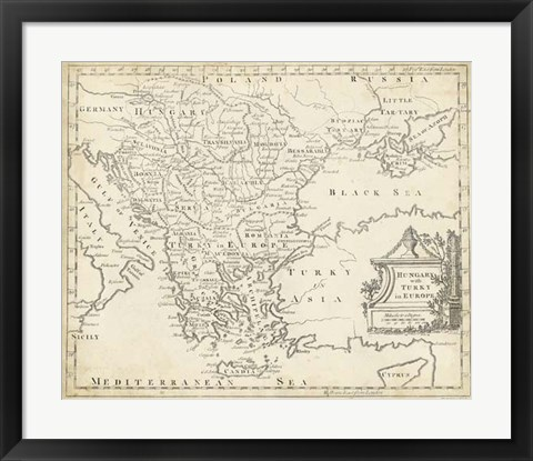Framed Map of Hungary & Turkey in Europe Print