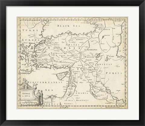 Framed Map of Turkey in Asia Print