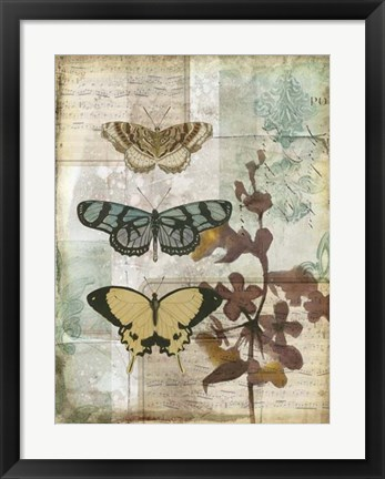 Framed Music Box Butterflies I Print