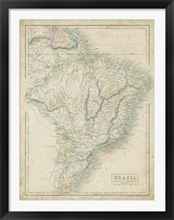 Framed Map of Brazil Print