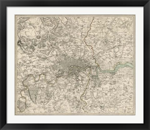 Framed Environs of London Print