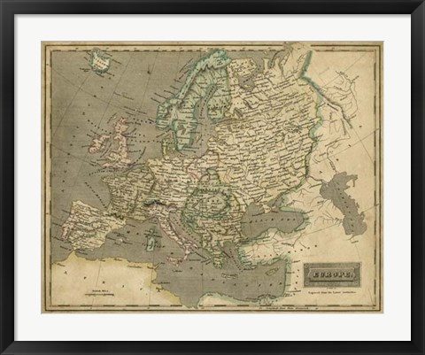 Framed Thomson's Map of Europe Print