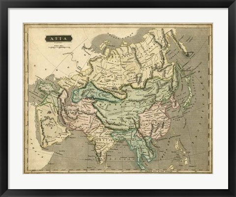 Framed Thomson's Map of Asia Print