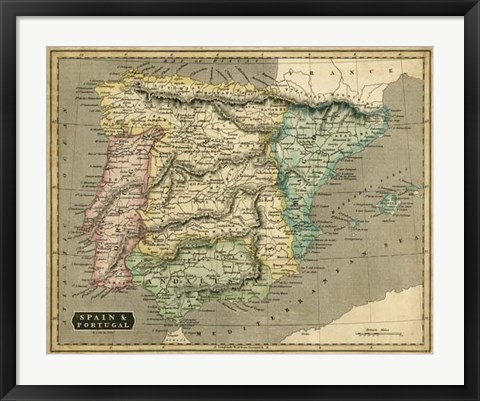 Framed Thomson's Map of Spain & Portugal Print