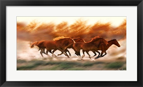Framed Blazing Herd II Print
