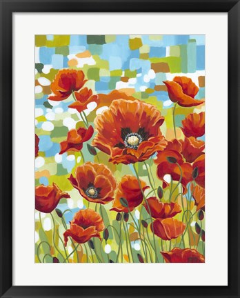 Framed Vivid Poppies I Print