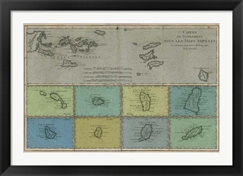 Framed Map of the Greater & Lesser Antilles Print