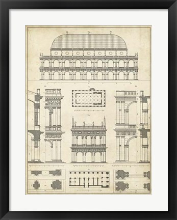 Framed Vintage Architect's Plan IV Print