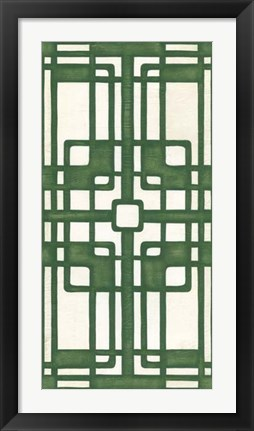 Framed Non-Embellished Emerald Deco Panel I Print