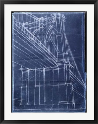 Framed Bridge Blueprint II Print