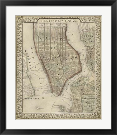 Framed Plan of New York Print