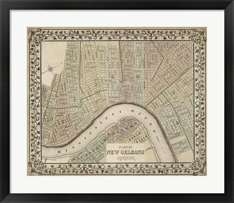 Framed Plan of New Orleans Print