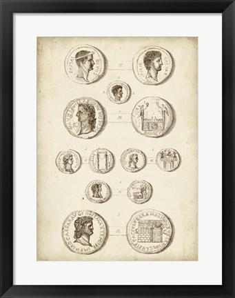 Framed Antique Roman Coins I Print
