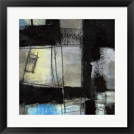 Framed Black on Blue IV Print