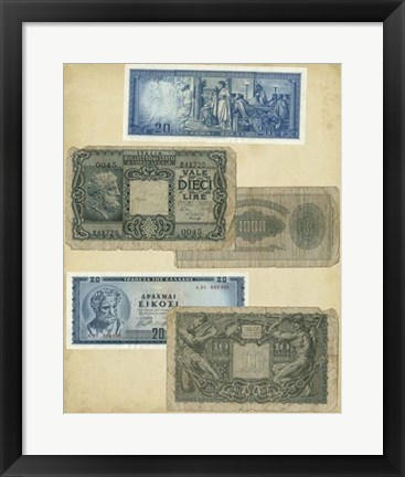 Framed Antique Currency III Print