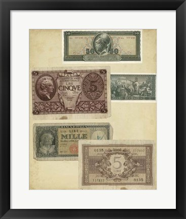 Framed Antique Currency IV Print