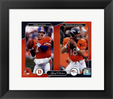 Framed John Elway & Peyton Manning Legacy Collection Print