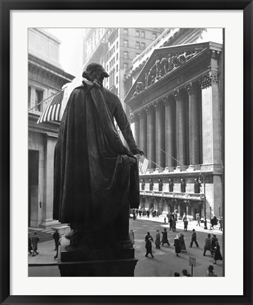 Framed George Washington Statue, New York Stock Exchange, Wall Street, Manhattan, New York City, USA Print