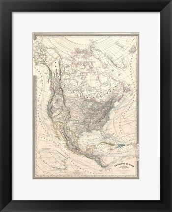 Framed 1857 Dufour Map of North America Print