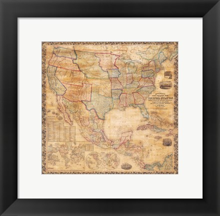 Framed 1856 Mitchell Wall Map of the United States and North America Print