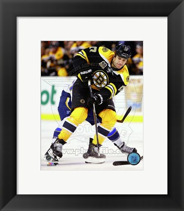 Framed Milan Lucic Hockey Puck Passing Print