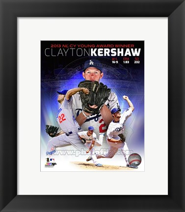 Framed Clayton Kershaw 2013 National League Cy Young Winner Portrait Plus Print