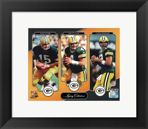 Framed Bart Starr, Brett Favre, & Aaron Rodgers Legacy Collection Print