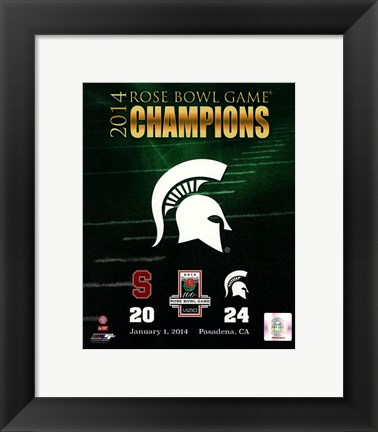Framed Michigan State Spartans 2014 Rose Bowl Champions Logo Print