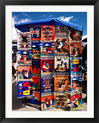 Framed Pillow covers for sale at a handicraft market, Otavalo, Imbabura Province, Ecuador Print