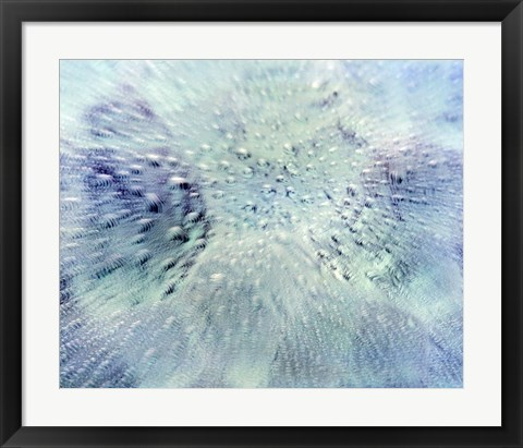 Framed Close up of water droplets on pale blue glass Print