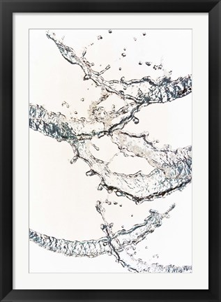 Framed Close up of water bubbles zigzag across white background Print