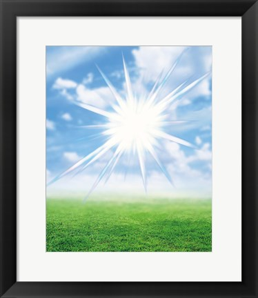 Framed Bright star like light floating in blue sky and clouds over green land Print