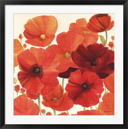 Framed Red and Orange Poppies I Print