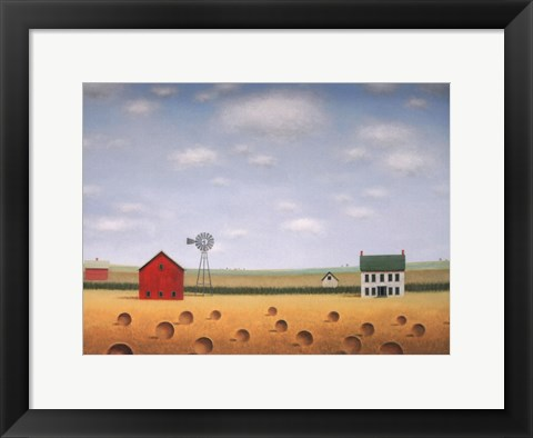 Framed Windmill on the Old Farmstead Print